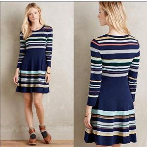 Anthropologie Moth Luca blue striped sweater dress